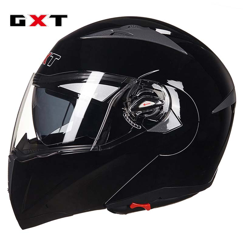 2017 black GXT Flip Up motorcycle helmet double lens undrap face motorbike helmets with anti-fog lens made of ABS size L XL G158 2018 summer new gxt half face motorcycle helmet prince retro motorbike helmets made of carbon fiber size m l xl xxl black color
