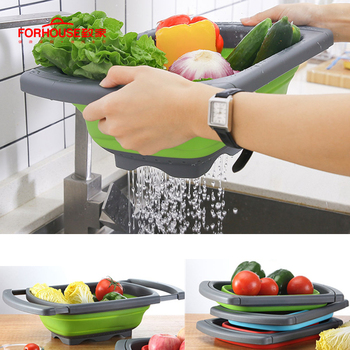 Silicone Telescopic Folding Drain Basket Kitchen Accessories Vegtable&Fruit Colander Strainer With Extendable Handles