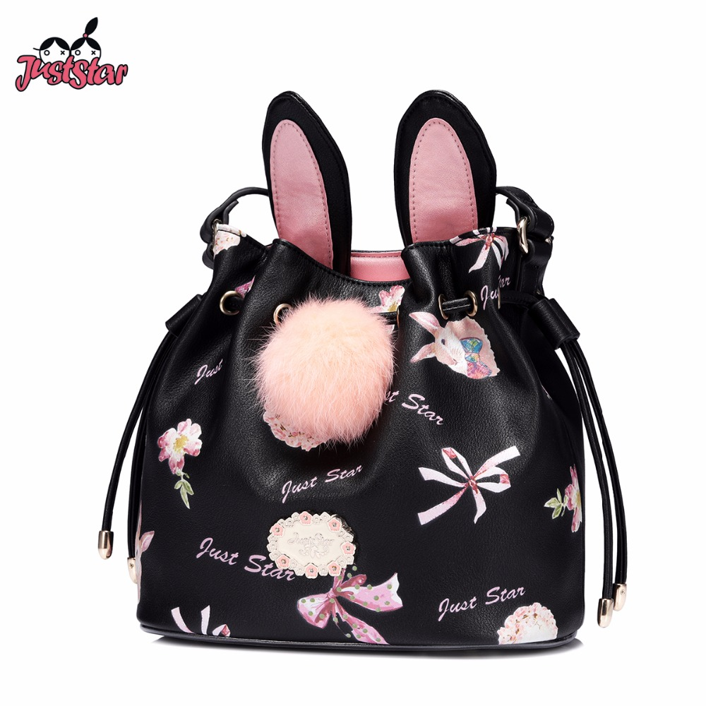 JUST STAR Women's PU Leather Crossbody Bags Ladies Printing Rabbit Bow Shoulder Purse Female Hairball Bucket Messenger Bag just star women s pu leather messenger bags ladies embroidery shoulder purse female chain leisure whale crossbody bags jz4468