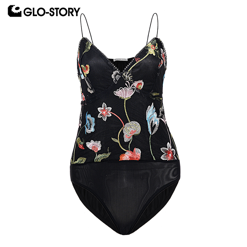 GLO-STORY Womens Sexy Bodycon Summer Bodysuit Women 2018 Spaghetti Floral Embroidery Deep V-neck Mesh Body Femme Rompers 6373