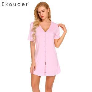 Image 3 - Ekouaer camisola sexy feminina, camisola de manga curta com botão, roupa para dormir, vestido de noite, roupa feminina de casa