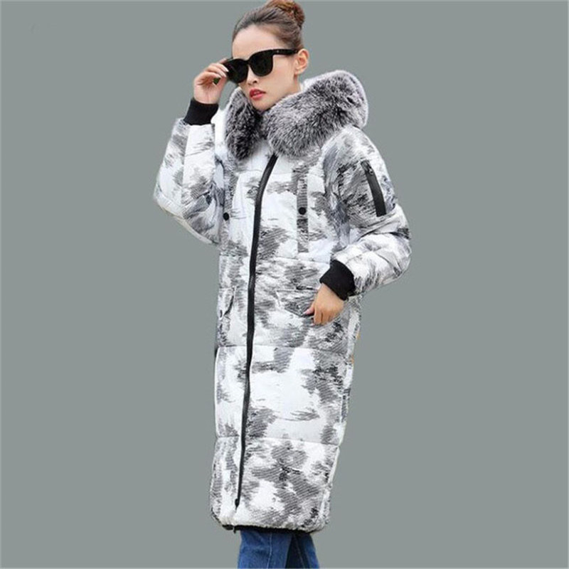 Lovers Parka 2016 New Plus Size Print Winter Coat Women Long Loose Hooded Padded Jacket Fur Collar Thick Wadded Outwear W297 2017 new wadded parka thick floral jackets women winter coat jacket abrigos mujer big size long over knee hooded outwear c2283