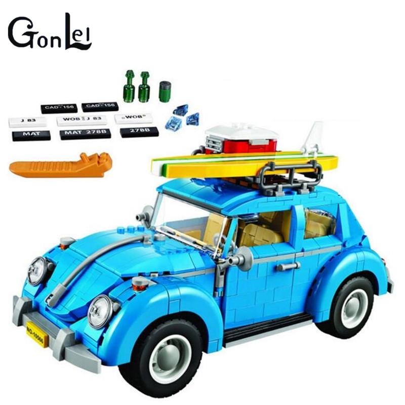 (GonLeI)10566 Series Volkswagen Beetle Model Sets Building Kit Blocks Bricks Toy Compatible With kazi 608pcs pirates armada flagship building blocks brinquedos caribbean warship sets the black pearl compatible with bricks