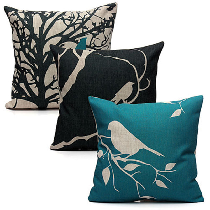 Bird Pillow Cover Leaf Cushion Cover Tree Pillow Cases for Sofa Car Home Decorations Pillowcase