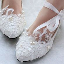 White/Red Lace Pearl Women Wedding Shoes With Ribbons