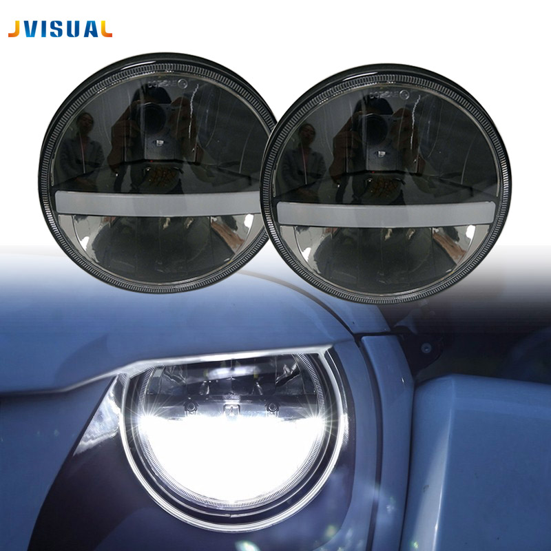 """Front Light Round Headlights with strip light 7 inch 7"""" LED Head Driving Light Lamp for JK Wrangler 07-15 Defender 4x4 off road"""