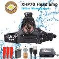 40000LM XHP70 светодиодный налобный фонарь очень яркий фонарь 3 режима фонарик 18650 зарядка через usb Головной фонарь охота велосипедные фары