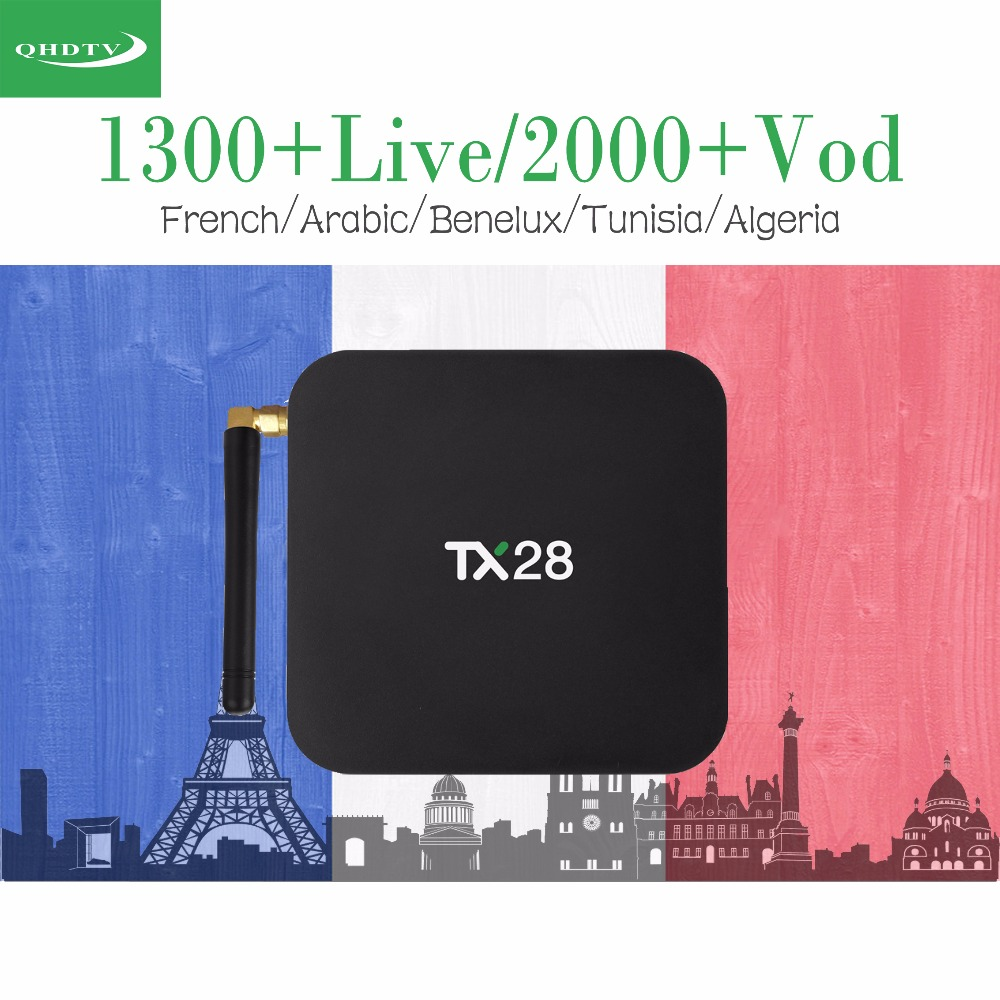 все цены на TX28 4K Android7.1 TV Box 4GB32GB IPTV BOX French Arabic Belgium IPTV Subscription 1 Year QHDTV 1300+Live,2000VOD Set top box