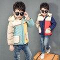 2016 Inverno Nova Chegada Do Bebê Meninos Moda Meninos Jaqueta Windbreake Quente Grossa Com Capuz Casaco Outerwear Jaqueta de Inverno Criança
