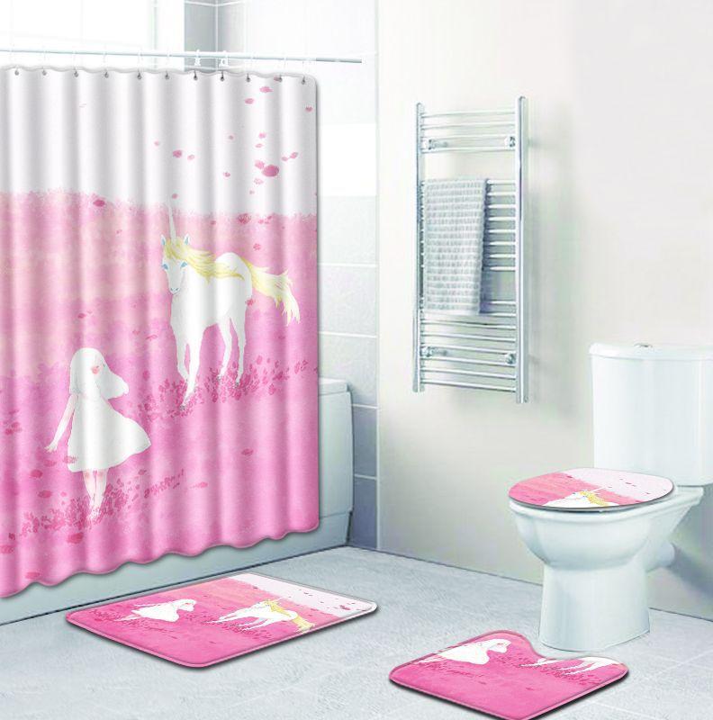creative gifts 4pcs/set Unicorn bathroom floor Anti-Slip shower curtain mats toilet seat cover pads rugs home hotel Tub decor