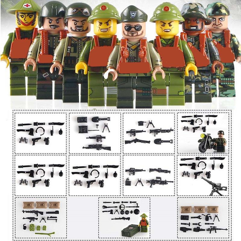 Vietnam War WW2 US Army SWAT Soldier Military SWAT Building Blocks Figures Bricks Toys For Children Gifts Compatible With Lego xinlexin 317p 4in1 military boys blocks soldier war weapon cannon dog bricks building blocks sets swat classic toys for children