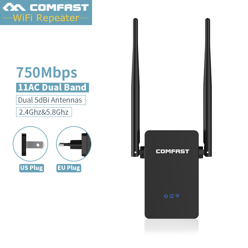 750Mbps Wifi Repeater Signal Booster 802.11AC Wifi Access Point AC Router Amplifier Dual Band Wireless Lan Extender 5G WR750AC