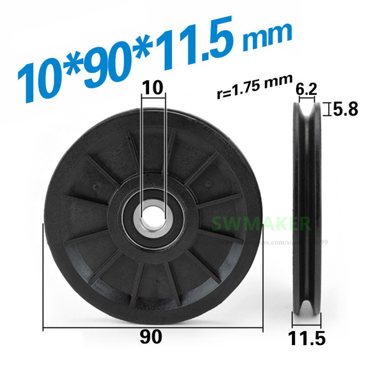 10pcs 10*90*11.5mm 9cm Nylon Wheel, U Groove V Grooved Roller Pulley, Bearing Wire Rope Guide Wheel, Elevator Lifting Wheel