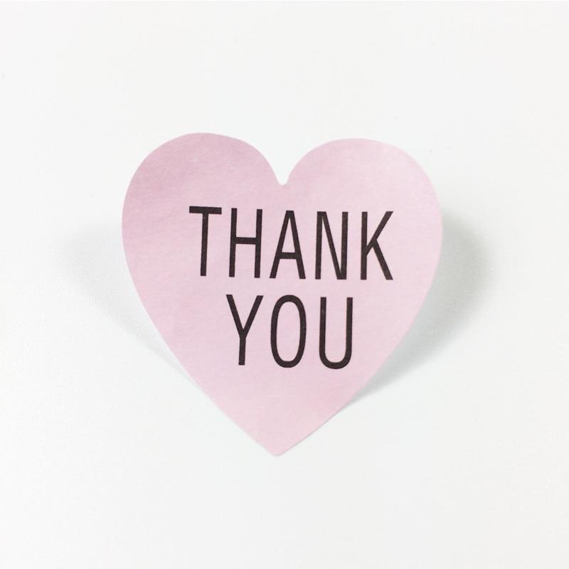 "Купить с кэшбэком 500 Pcs/lot Label Pink Heart ""Thank you"" Sticker Labels Seals Gift Stickers For Wedding Seals Envelope Label"