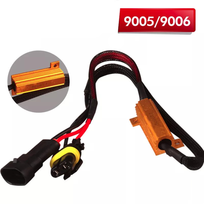 1 Pcs Led Canbus Decoder 9005 HB3 9006 HB4 50W Load Resistor Error Canceller Wire Harness Adapter Car Fog Lights