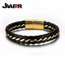 Новая мода черный/кожаный браслет мужские браслеты с магнитной пряжкой из нержавеющей стали
