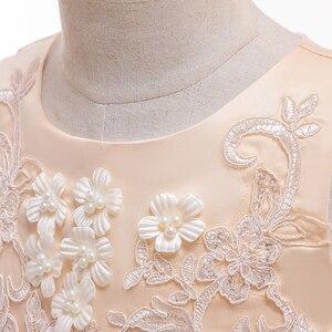 Image 5 - Aplike dantel kız elbise parti kız yaz elbiseler doğum günü prenses düğün nedime bebek elbiseleri Vestidos 3 10 yıl L5097
