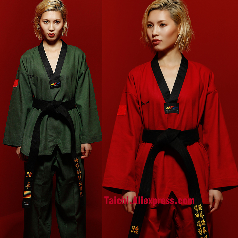 Martial Arts TKD Tae Kwon Do Korea V-neck Adult Taekwondo Master Uniform For Poomsae & Training,WTF Uniform,160-190cm