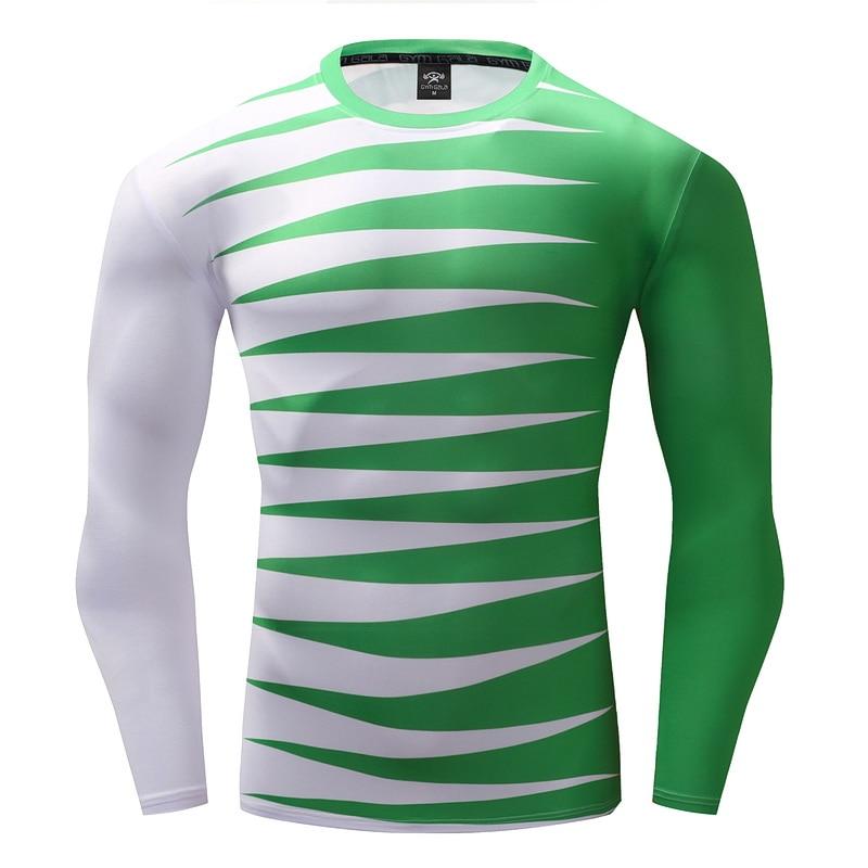 ce4ca3991b 2017 Camisa 3D Impresso T shirt Dos Homens de Manga Longa de Compressão  Rápida dry homens tendências da moda de fitness camiseta branca e verde  mangas em ...