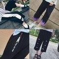 Calças Harém Verão 2017 Capris Moda Coréia Ulzzang Harajuku Dos Desenhos Animados Calças de Pernas Largas Para Mulheres Carta Impressão Calça Esporte