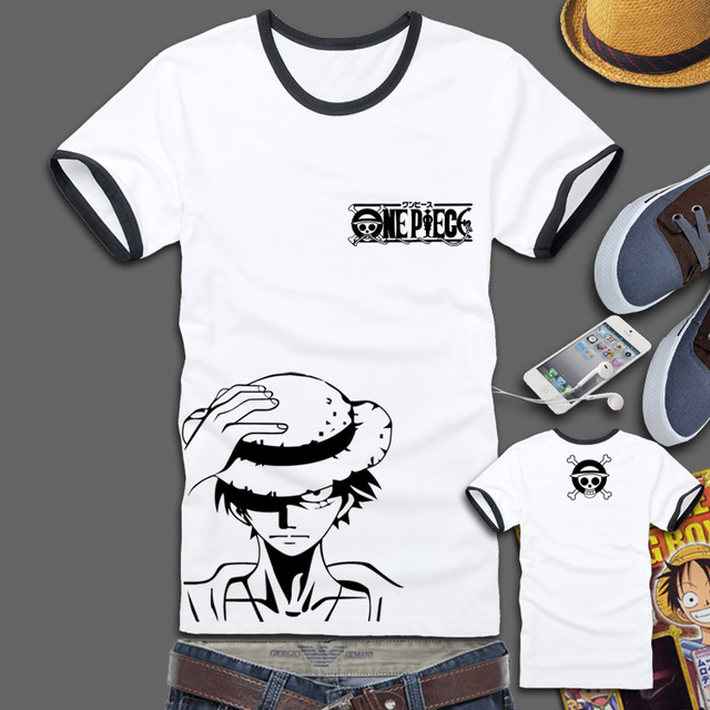 aef6562f Japan Anime Cosplay Costumes One Piece Luffy Portgas D Ace Chopper T shirt  Tee Straw Hat Pirate Flag Logo Short Sleeve T-Shirt