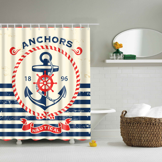 Nautical Anchors Shower Curtains Waterproof Bathroom Polyester 180x180cm Decoration With Hooks