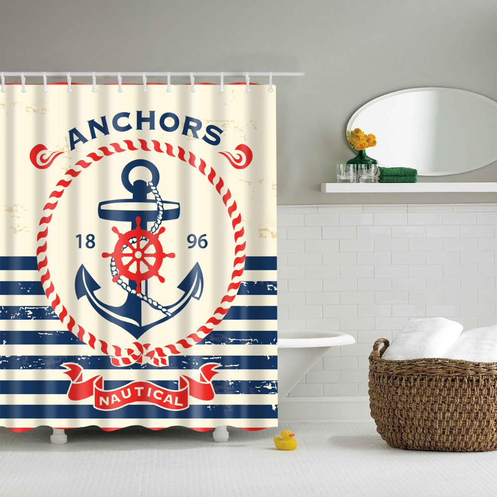 Nautical bathroom curtains - Nautical Anchors Shower Curtains Waterproof Bathroom Curtains Polyester 180x180cm Decoration With Hooks China Mainland