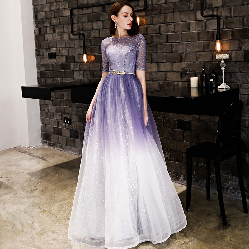 Purple-white Gradient color Evening Dress Short Sleeves Sequined Prom Gown