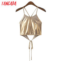 Tangada Women Gold Camis Tank Top Sexy Tanks Strappy Cross Backless Girls Camisole Short Crop Tops 2017 Summer Camis XD97