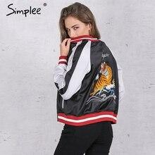 Simplee Unpadded satin embroidery bomber jacket women Black blue tiger eagle souvenir jacket coat Casual baseball jacket sukajan