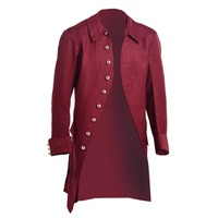 Men Medieval Trench Vintage Military Victorian Gothic Steampunk Coat Jacket