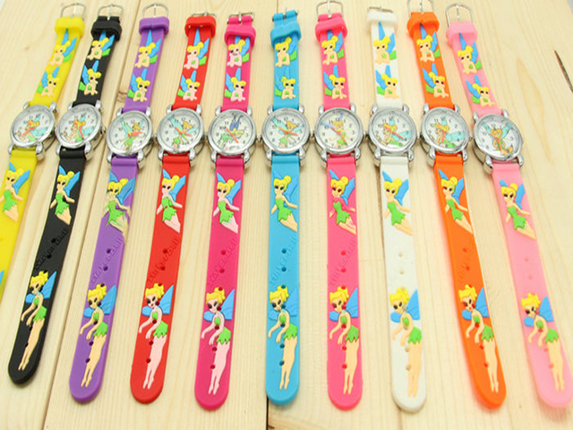 Free Shipping Wholesale Tinker Bell Watch,3D Cartoon Quartz Watch 10pcs/set &Pro