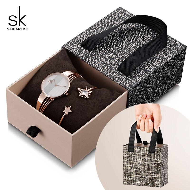 Shengke Rose Gold Bracelet Watches Women Set 2019 New Ladies Fashion Quartz Watch With Crystal Star Bangle Set Gift For Women