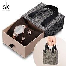 Shengke עלה זהב צמיד שעונים נשים סט 2019 חדש גבירותיי אופנה קוורץ שעון עם קריסטל כוכב חג המולד מתנת סט עבור נשים