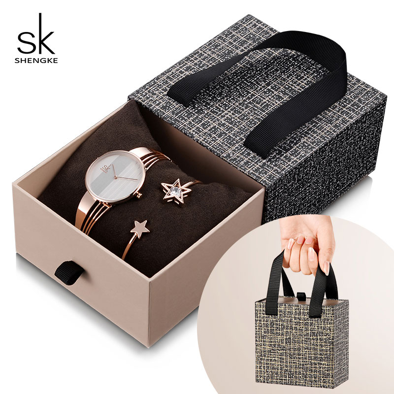 Shengke Rose Gold Bracelet Watches Women Set 2019 New Ladies Fashion Quartz Watch With Crystal Star Xmas Gift Set For Women