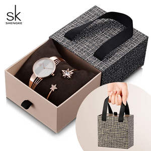 Shengke Bracelet Watches Xmas-Gift-Set Rose-Gold Women Ladies Fashion Crystal-Star Quartz