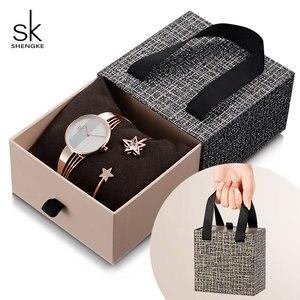 Image 1 - Shengke, conjunto de pulsera de oro rosa para mujer, novedad de 2019, reloj de cuarzo para mujer con estrella de cristal a la moda, conjunto de regalo de Navidad para mujer