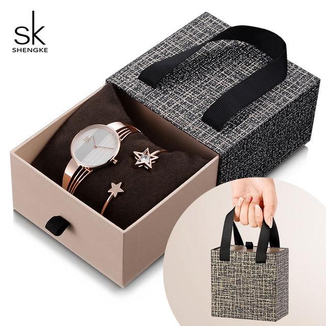 Shengke, conjunto de pulsera de oro rosa para mujer, novedad de 2019, reloj de cuarzo para mujer con estrella de cristal a la moda, conjunto de regalo de Navidad para mujer