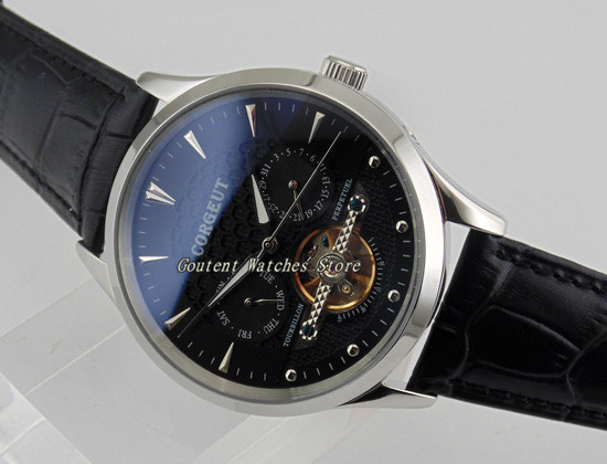 44mm Corgeut Day&Date Polished Silver Case Black Dial Automatic Men's Watch