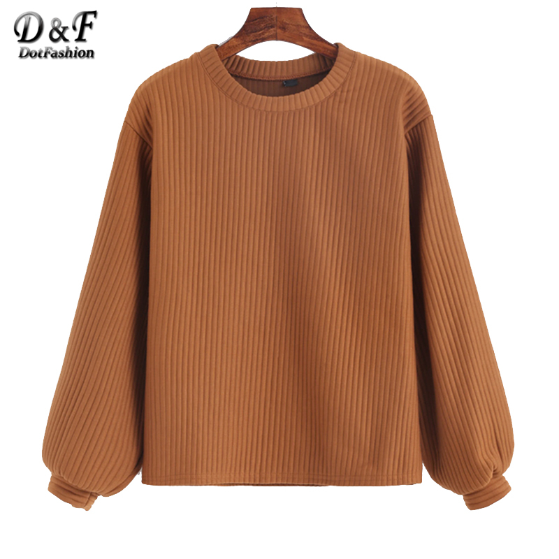 Dotfashion Lantern Sleeve Ribbed Sweatshirt 2019 Autumn Khaki Crew Neck Pullovers Women Long Sleeve Plain Sweatshirt