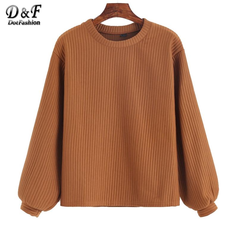 Dotfashion Lantern Sleeve Ribbed Sweatshirt 2019 Autumn Khak