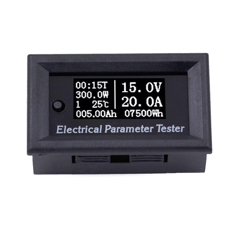OLED Multifuncton 100 V 50A Elétrica parâmetro Tensão Tempo Volt Amperímetro Atual Capacidade Temp Temperatura medidor de Energia de Energia