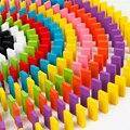 Nuevo 120 unids rainbow colored dominó bloques de construcción de madera de la primera infancia juguetes educativos para bebés y niños pequeños