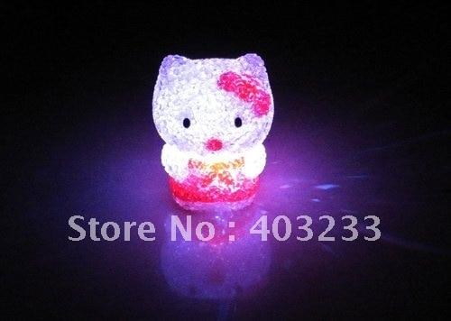 "3"" Crystal Color Change LED Hello kitty Mood Light Lamp EMS/DHL/FEDEX/UPS/SQ Post/Hongkong Post"