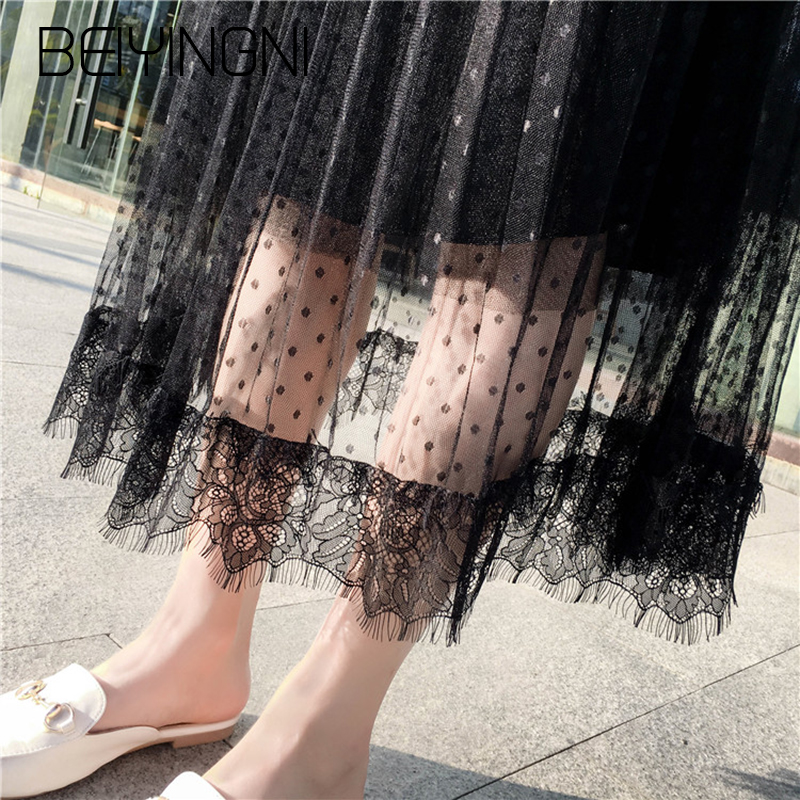 Beiyingni High Waist Skirts Women Plus Size Pleated Mesh Dot Embroidery Chic Skirt Apricot Blue Black Midi Saia 2019 Falda L-4XL