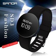 SANDA Reloj de pulsera SD3 para hombre y mujer, reloj de pulsera deportivo con pantalla táctil OLED, contador de pasos, recordatorio inteligente