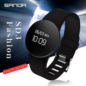 Image 1 - SANDA SD3 موضة عادية النساء/الرجال الذكية تذكير النوم رصد ساعة اليد شاشة OLED تعمل باللمس عداد الخطى الرياضة فستان ساعة رقمية