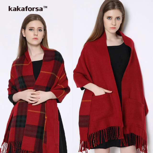 Stylish Winter Warm Cotton Blanket Scarf Female Long Tassel Plaid Wrap with Pockets Thick Brand Shawls and Scarves for Women Men