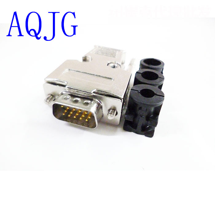 (10pcs/lot) DB15 3Rows Parallel VGA Port HDB9 15 Pin D Sub Male Solder Connector + metal Shell Cover high quality vga plug 15 pin hole three rows db15 female db15 male welding head vga connector vga plug brass contact 10pcs lot