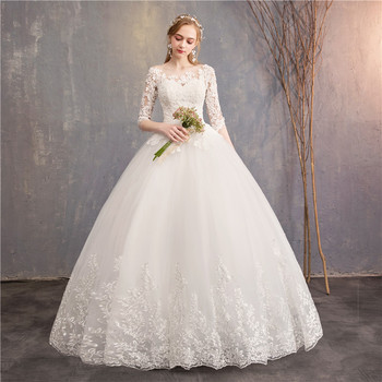 Half Sleeve Wedding Dresses 2020 New Mrs Win Luxury Lace Embroidery Ball Gown Wedding Dress Can Custom Made Vestido De Noiva F 2